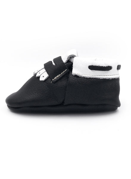 Baby Sun Star Black & White Moccasins