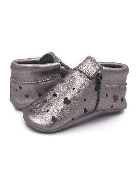 Baby SunBeam Silver Heart Moccasins