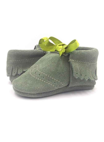 Baby Sun Ribbon Force Green Moccasins