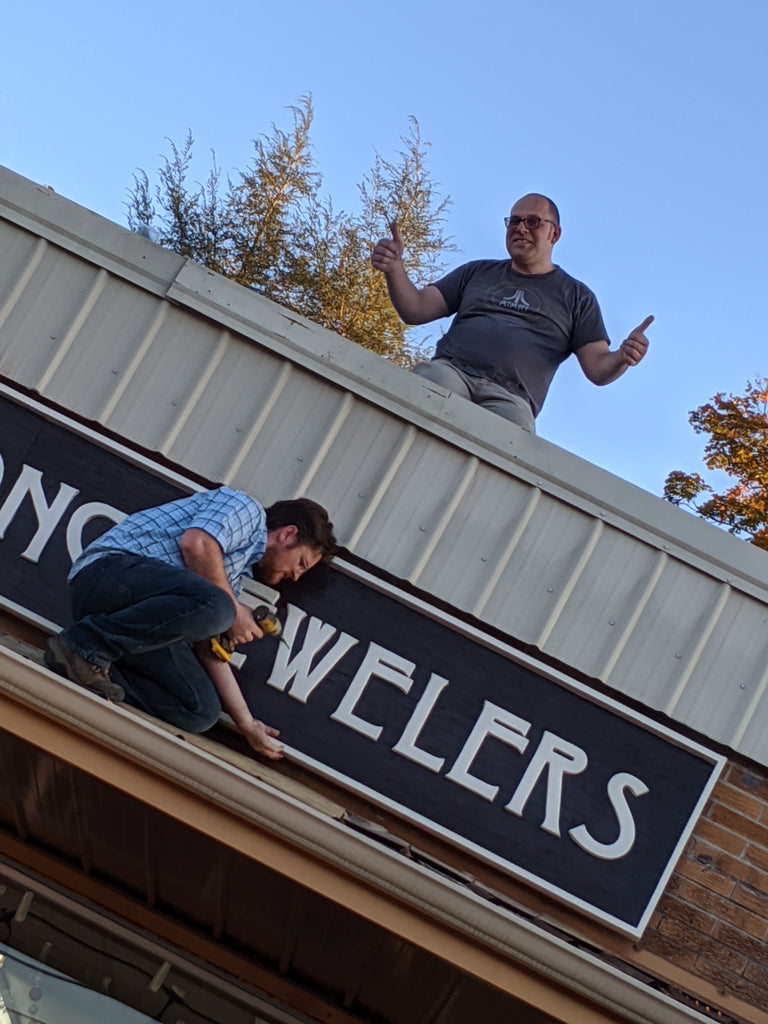 Rob Sherman on the roof of Mountain Song Jewelers