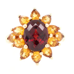 Garnet and Topaz Ring in Yellow Gold