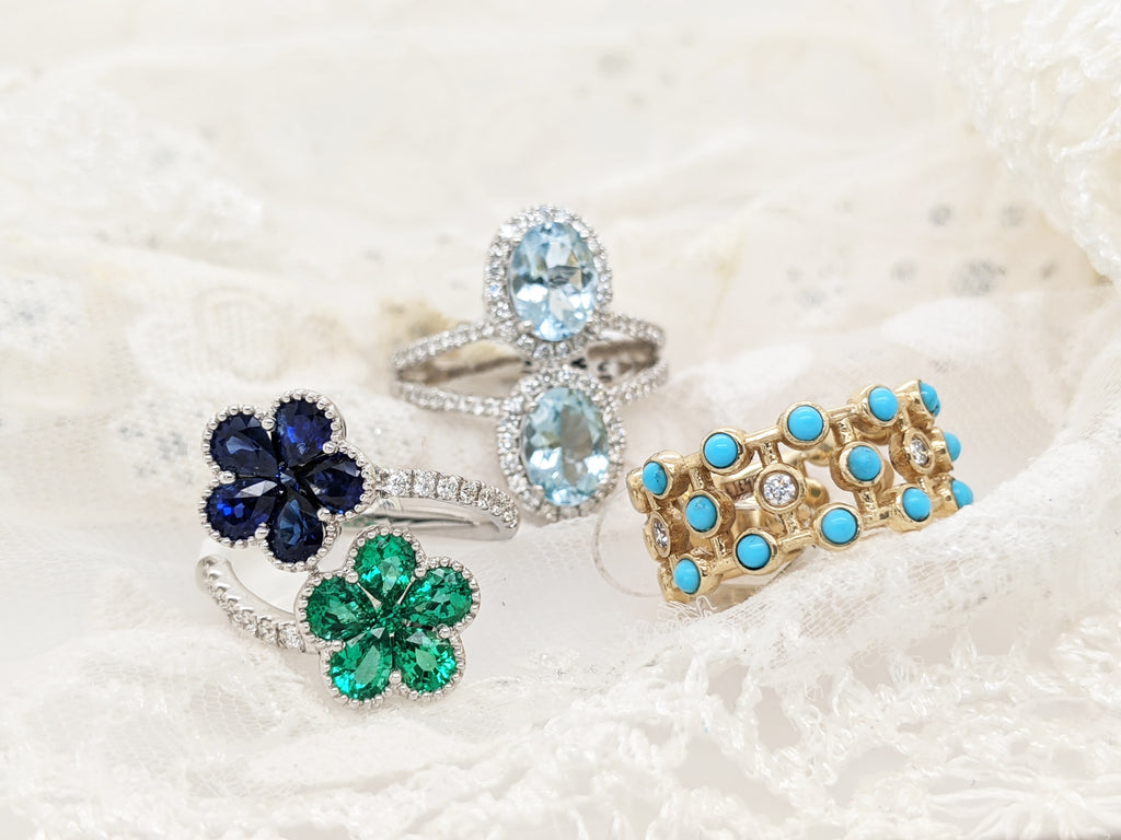 Rings with Emeralds, Sapphires, Turquoise, Aquamarines, and Diamonds