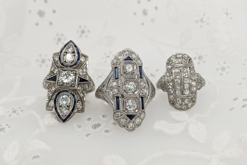 Vintage Rings with Diamonds and Sapphires