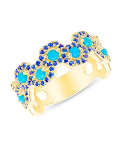 Talia - 14k Yellow Gold Sapphire Design and Turquoise Ring