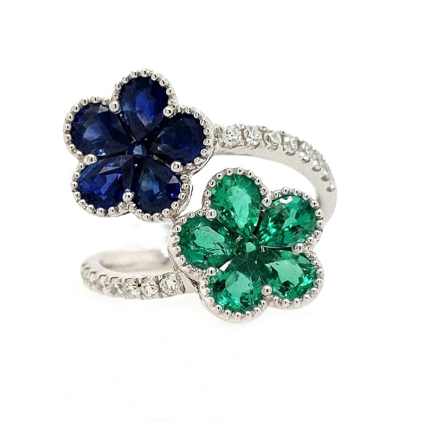 Evelyn - 18k White Gold Double Flowers with Natural Sapphires & Emeralds
