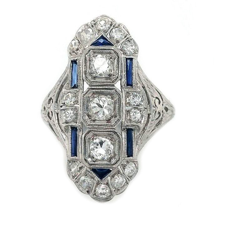 Moira - Art Deco Platinum, Diamond, and Sapphire Cocktail Ring