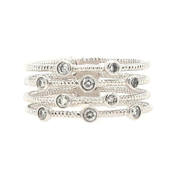 Whitney - 14k White Gold & Diamond Four Band Stacked Ring