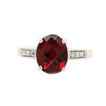 Randi - 10k White Gold Oval Garnet and Diamond Ring