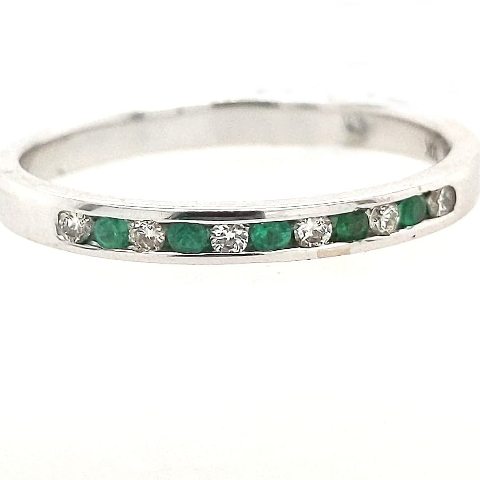 Abby - White Gold Emerald and Diamond Anniversary Band