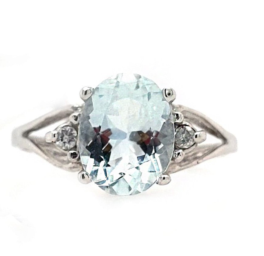 Andi - 10k White Gold Oval Cut Aquamarine