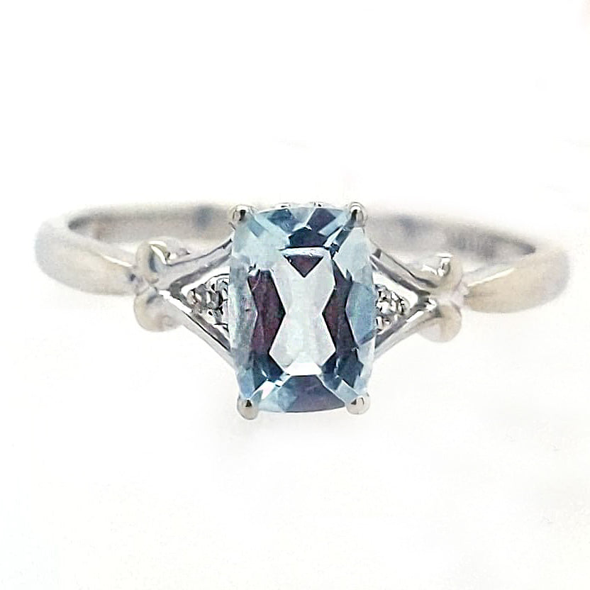 Aidan - Vintage Cushion Cut Aquamarine and White Gold