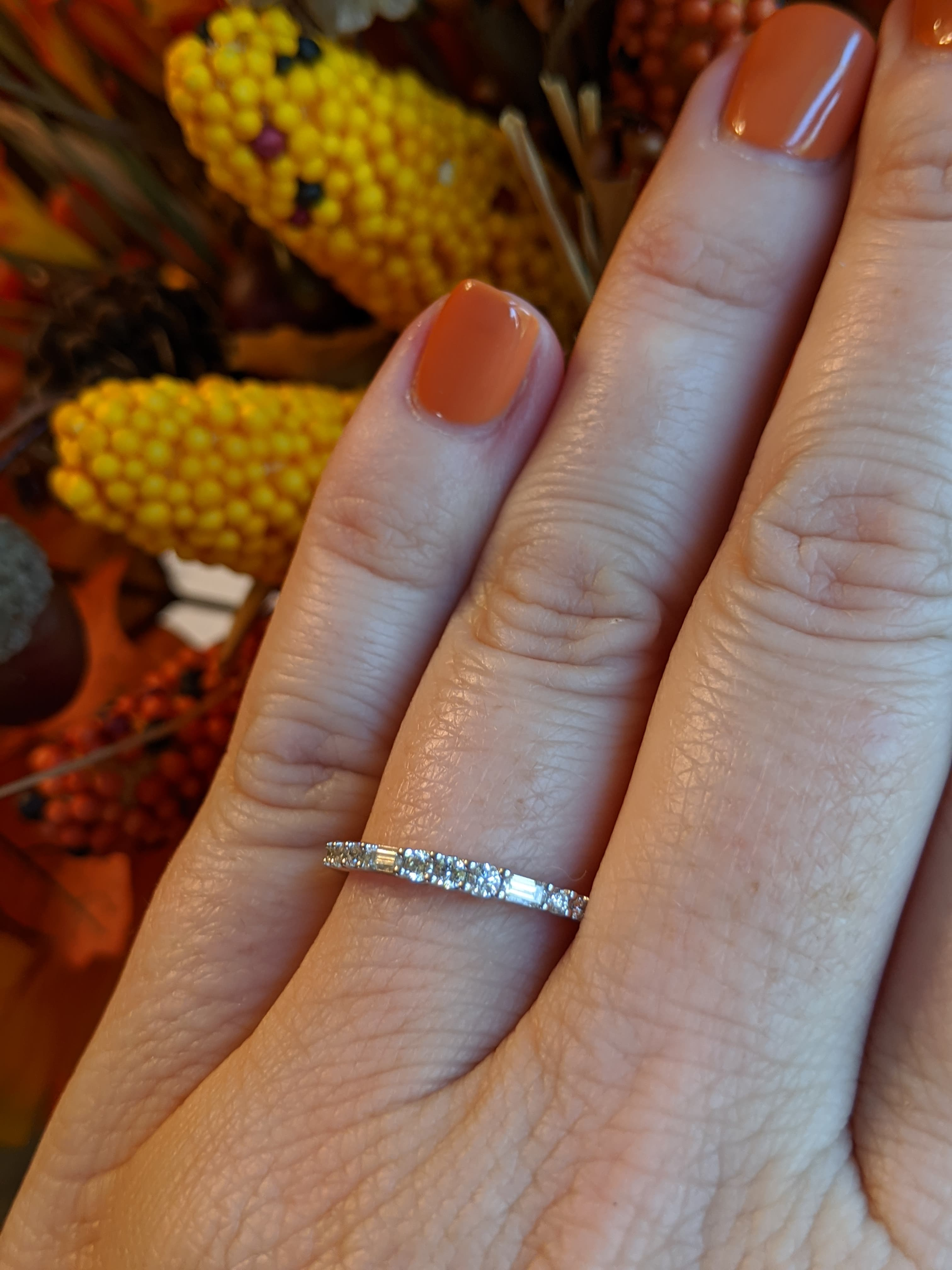Charlie - 14K White Gold Baguette and Round Diamond Band