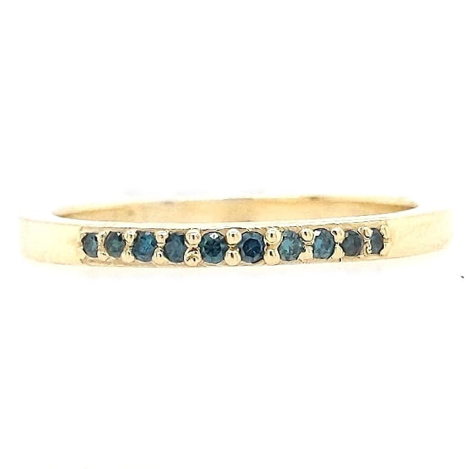 Amy - 14k Yellow Gold Green Diamond Band
