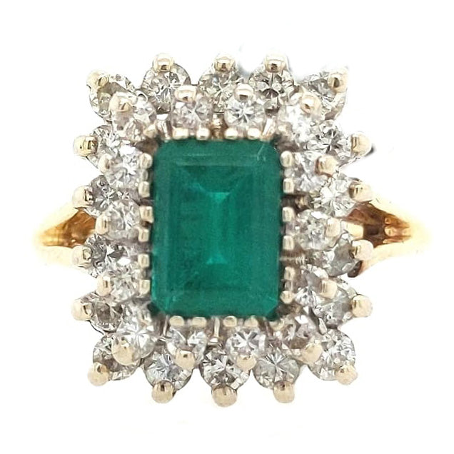 Victoria - Natural Emerald and Diamond Vintage Ring