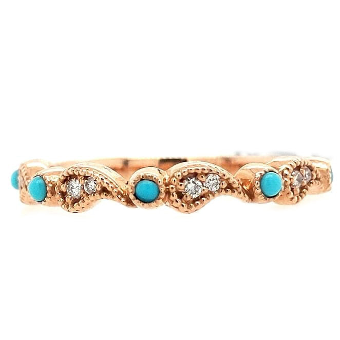 Madison - 14k Rose Gold Paisley Design Turquoise and Diamond Band