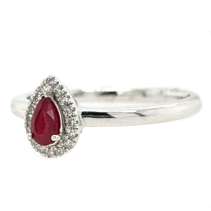 Valentina - Ruby Teardrop and White Gold Ring
