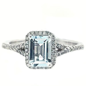 Antonia - Emerald Cut Aquamarine and Diamond White Gold Ring