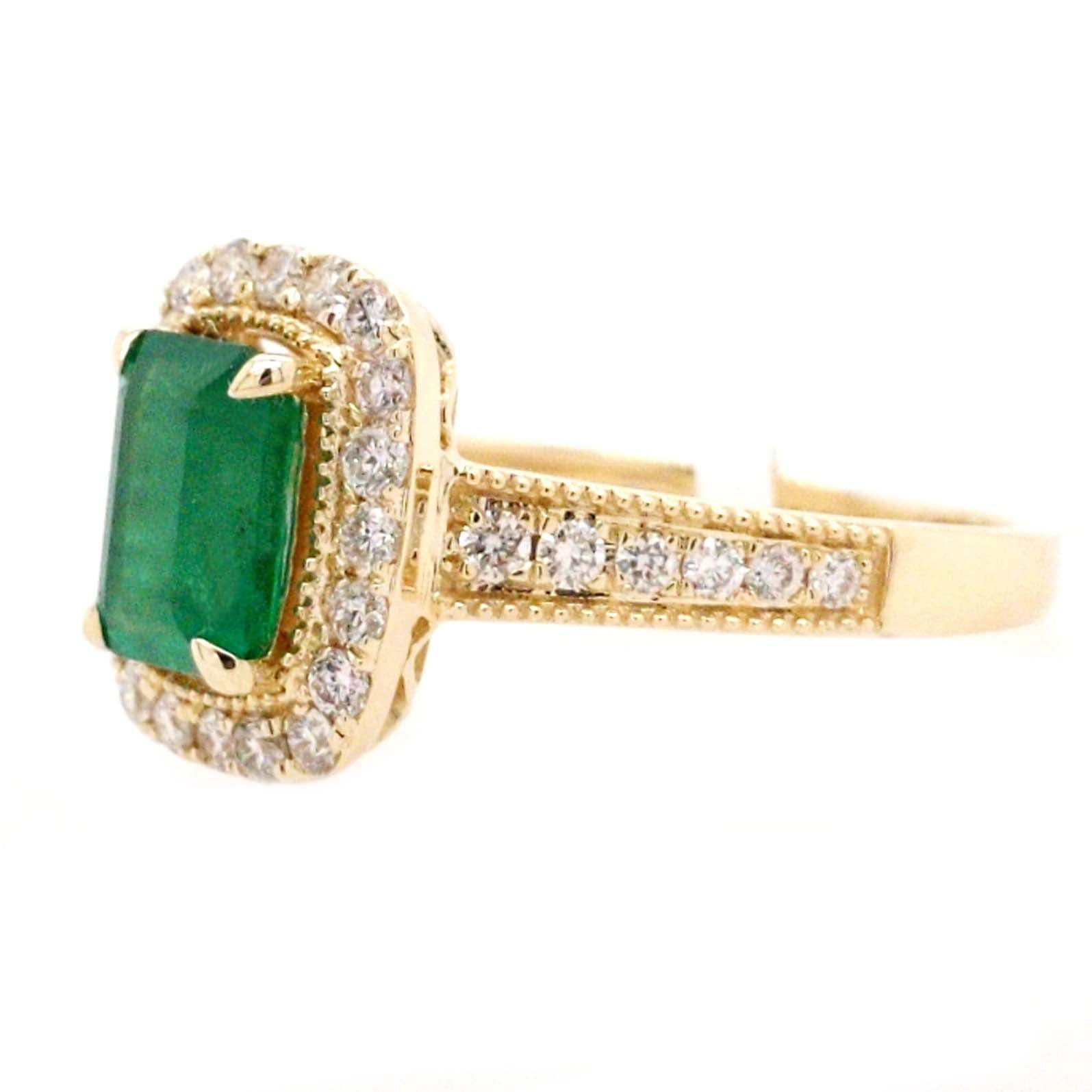 Kendra - 1.12 CT Emerald Cut Emerald with Diamond Accents in 14k