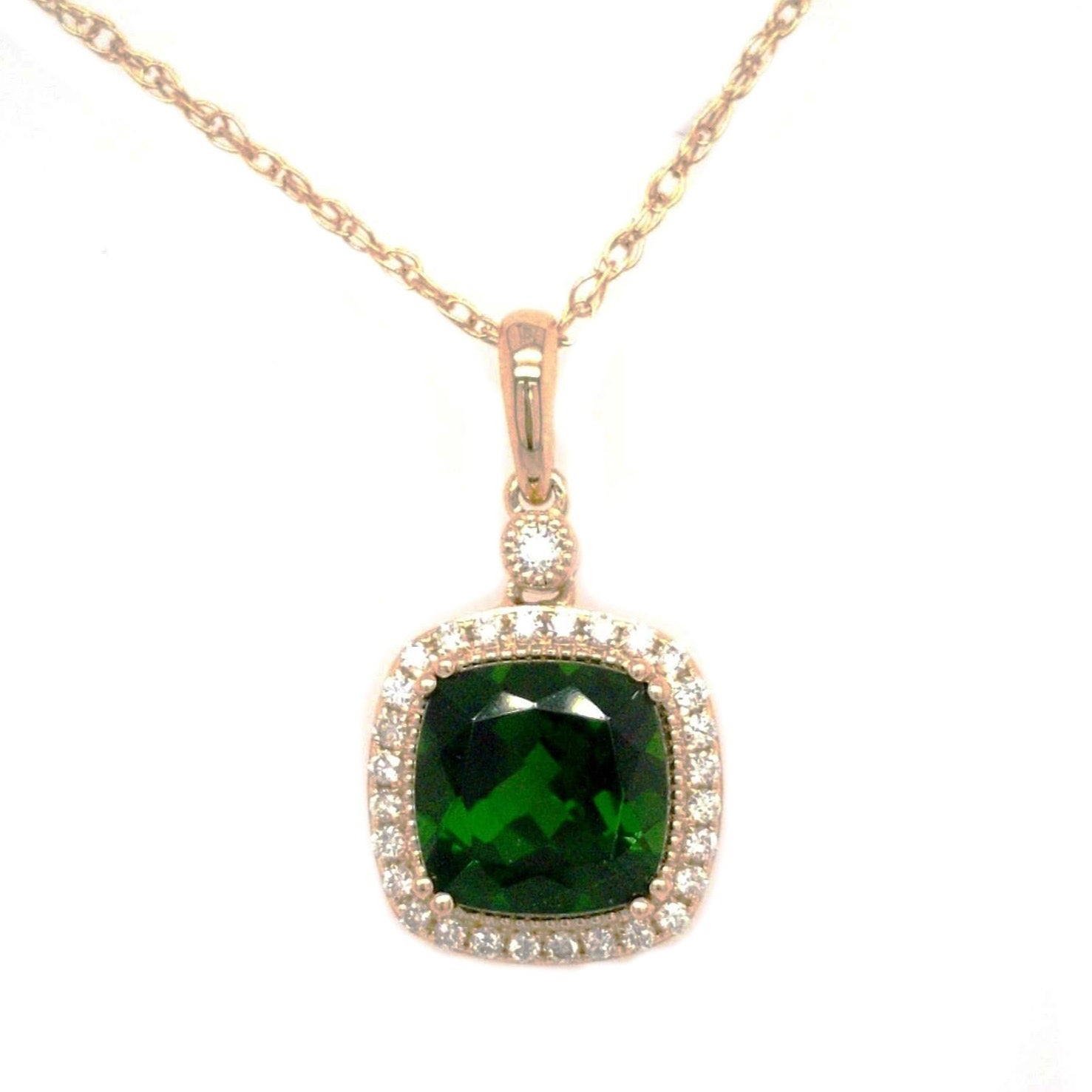 Alaina -  2.15 ct Chrome Diopside and Diamond Necklace