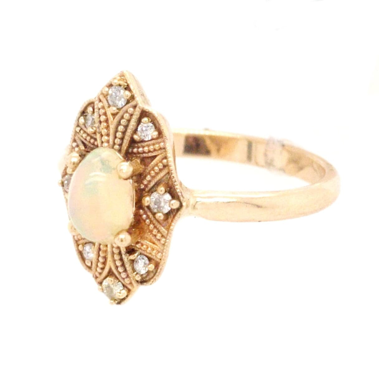Cara - Natural Ethiopian Opal in Yellow Gold with Diamond Accents