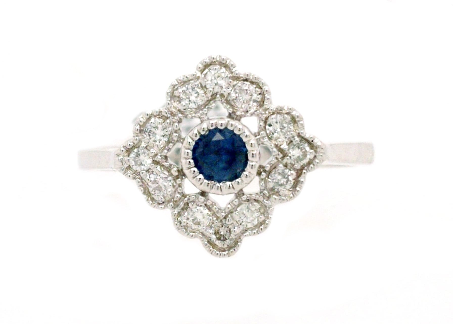 Beatrice - White Gold, Diamond, and Natural Sapphire Ring