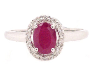 Meara -Classic Natural Ruby and Diamond Halo White Gold Ring