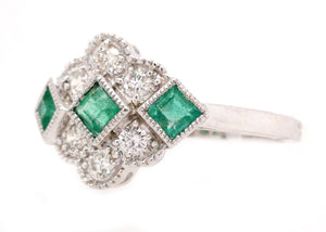 Francesca - Art Deco Style Natural Emerald and Diamond Ring