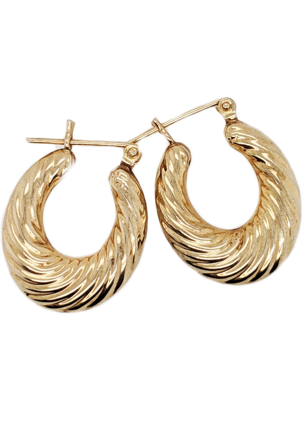 Akila - 10k Yellow Gold Textured Hoop Oval Earrings