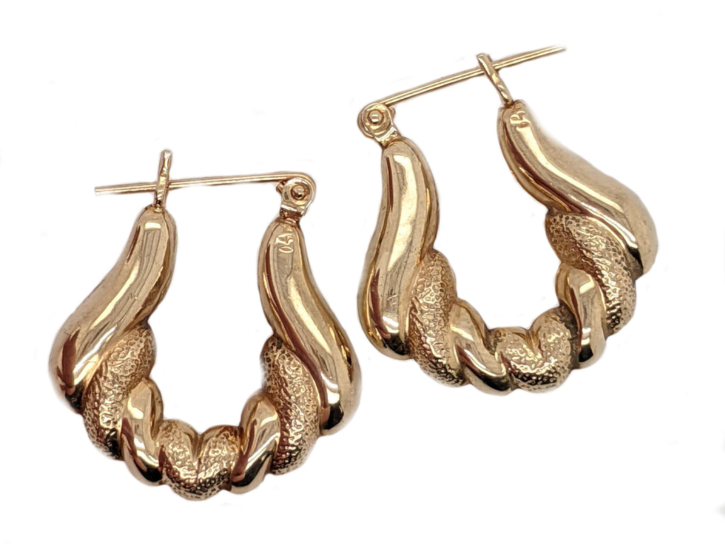 Kiera - 14k Yellow Gold Sculpted Hoop Earrings