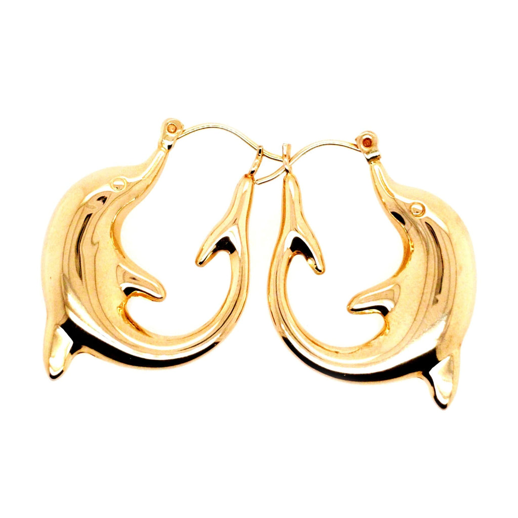 Nova -14k High Polish Dolphin Hoop Earrings