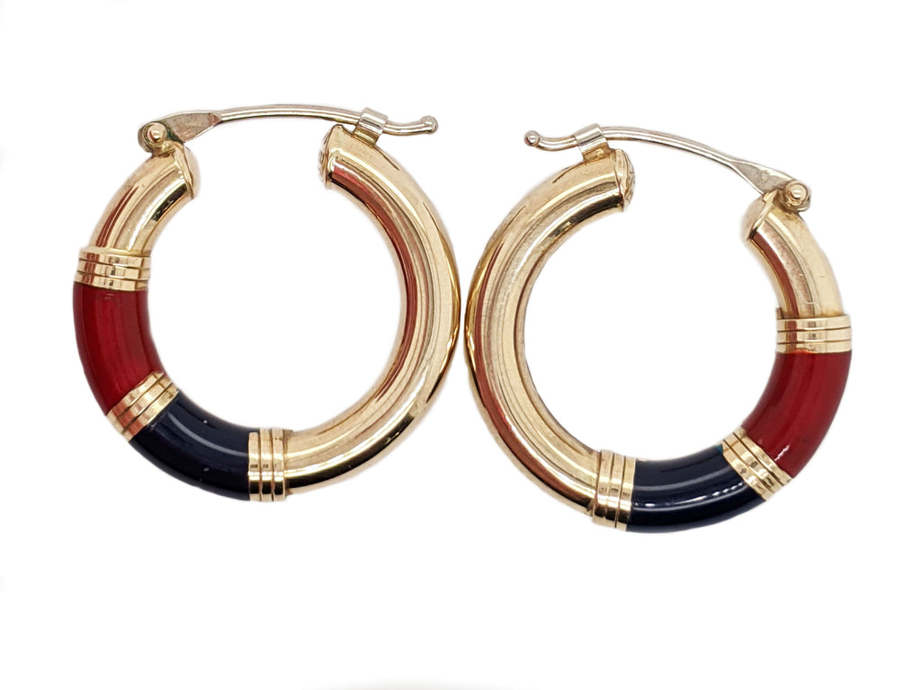 Kalene - 14k Yellow Gold Hoops with Maroon and Navy Enamel Accent