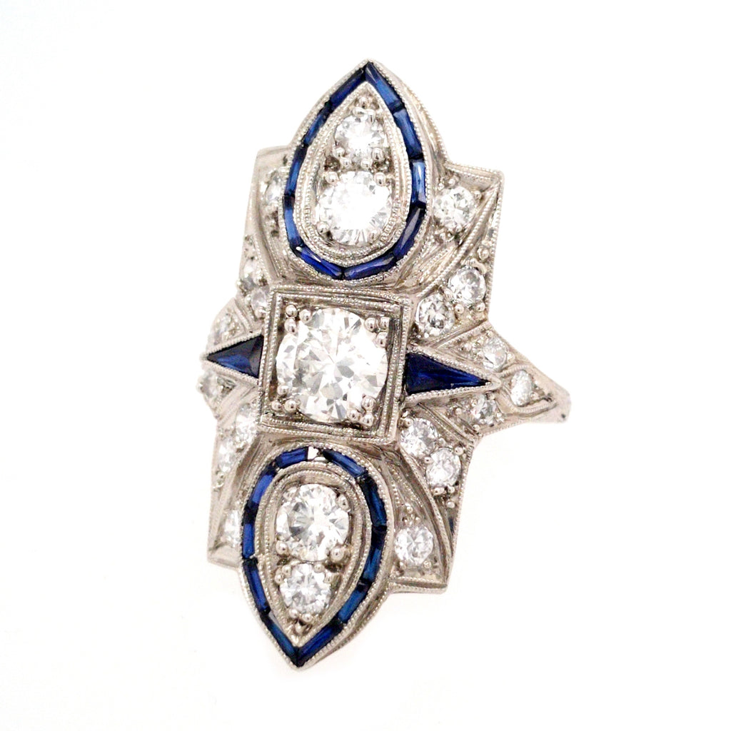 Adelheid - 1920s Art Deco Platinum, Diamond, and Sapphire Ring
