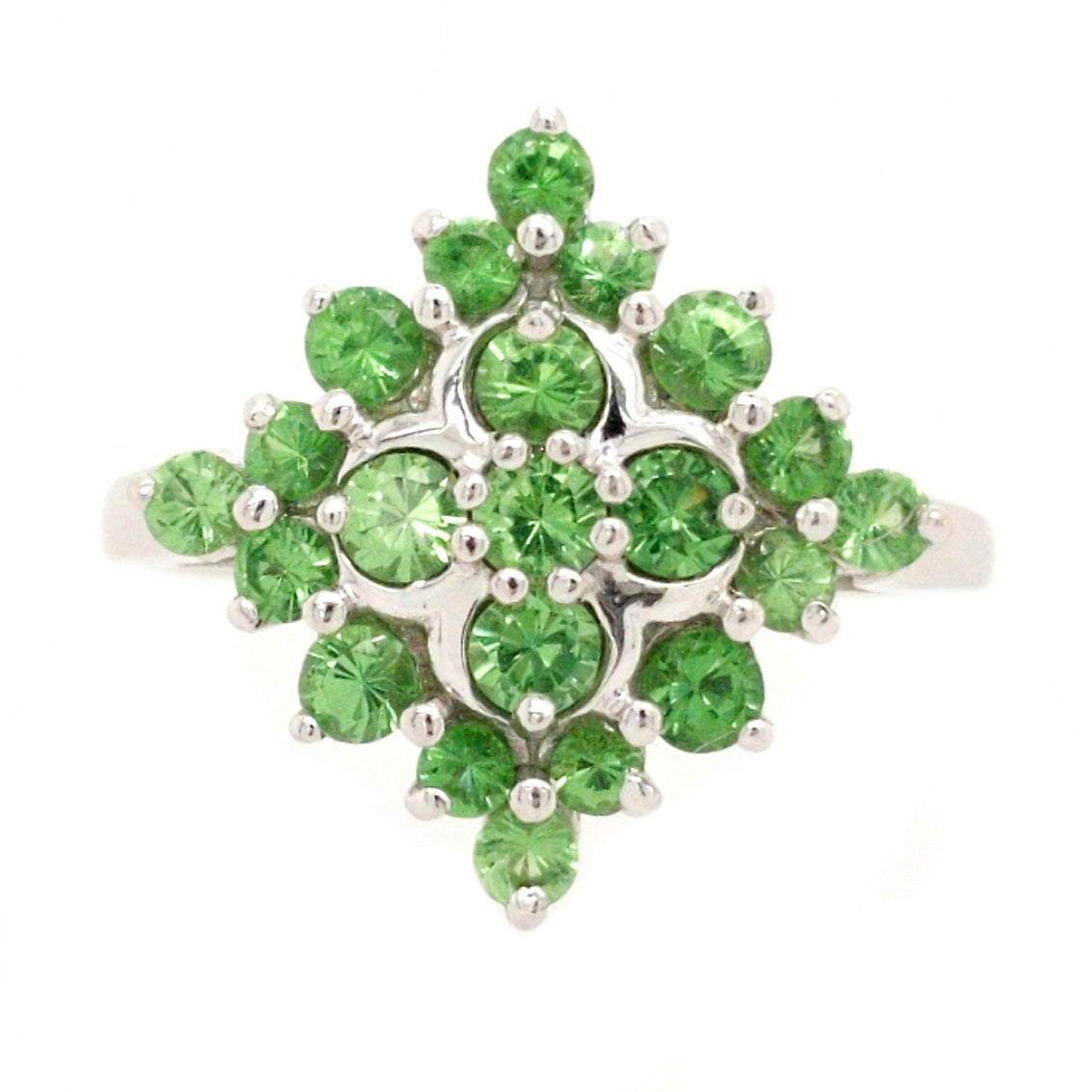 Claudia - Vivid Green Spinel in White Gold