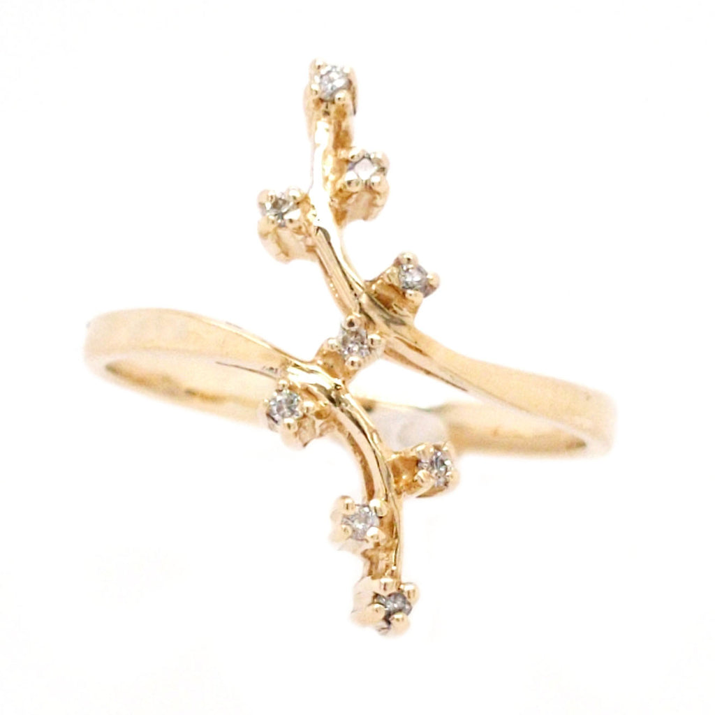 Tamar - Vintage 14k Yellow Gold Diamond Blossom Branch