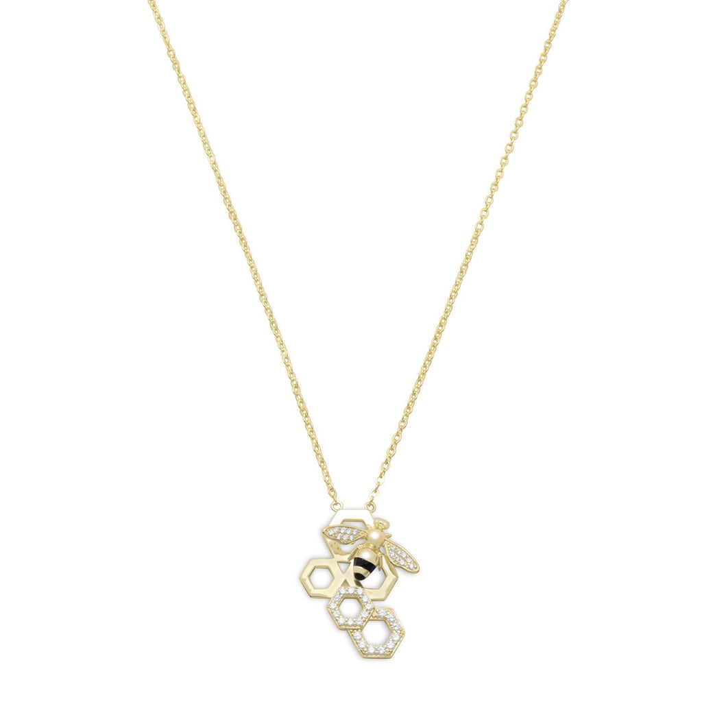 """BEE Mine!"" 14 Karat Gold Plated and Signity CZ Bee Necklace"