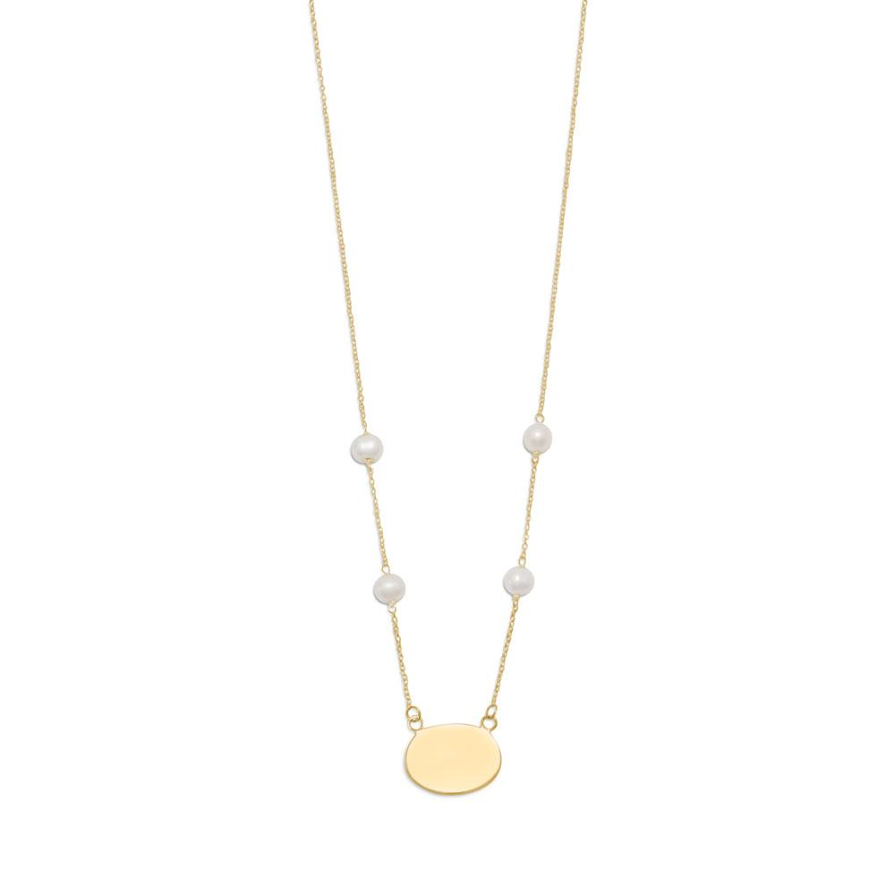 "16"" Gold Plated Engravable Necklace with White Cultured Freshwater Pearls"