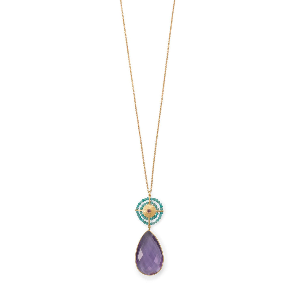 "32"" 14 Karat Gold Plated Amethyst and Amazonite Necklace"