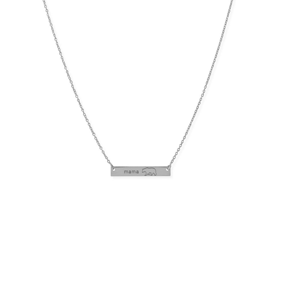 "16""+2"" Sterling Silver ""Mama Bear"" Bar Necklace"