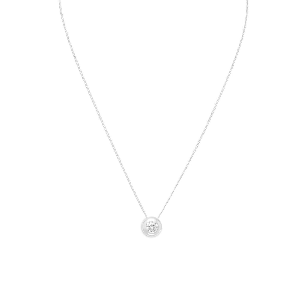 "16"" Necklace with 6mm Bezel Set CZ"