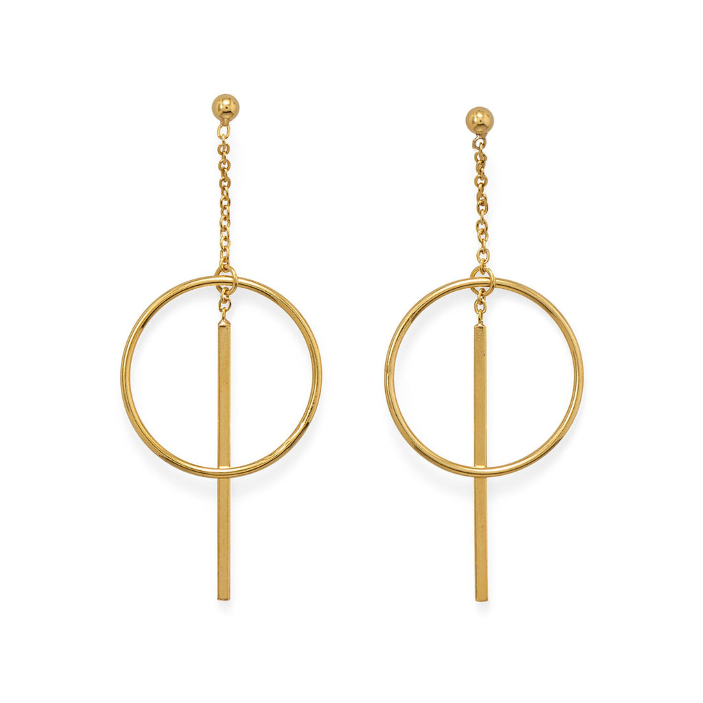 14 Karat Gold Plated Long Bar w/Circle Post Earrings