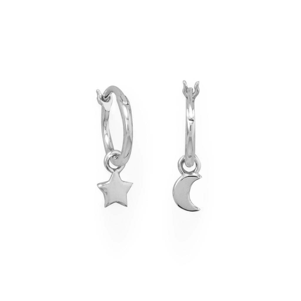 Rhodium Plated Moon and Star Charm Hoop Earrings