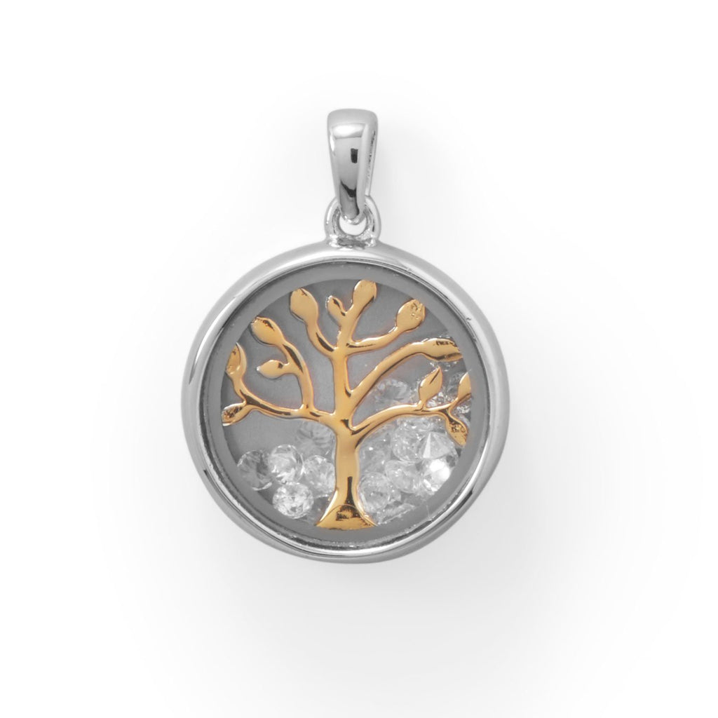 Two Tone Dancing CZ's Tree Pendant