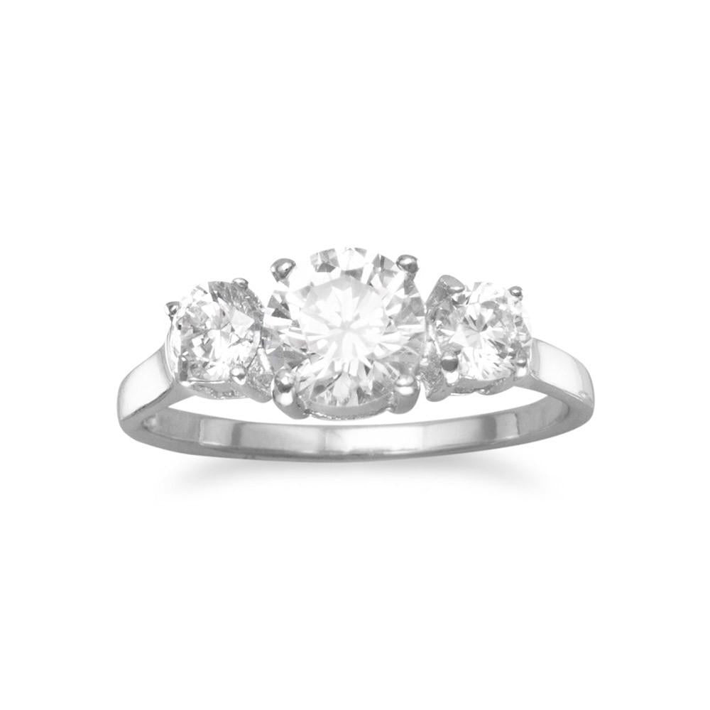 Rhodium Plated Ring with Three Round CZs