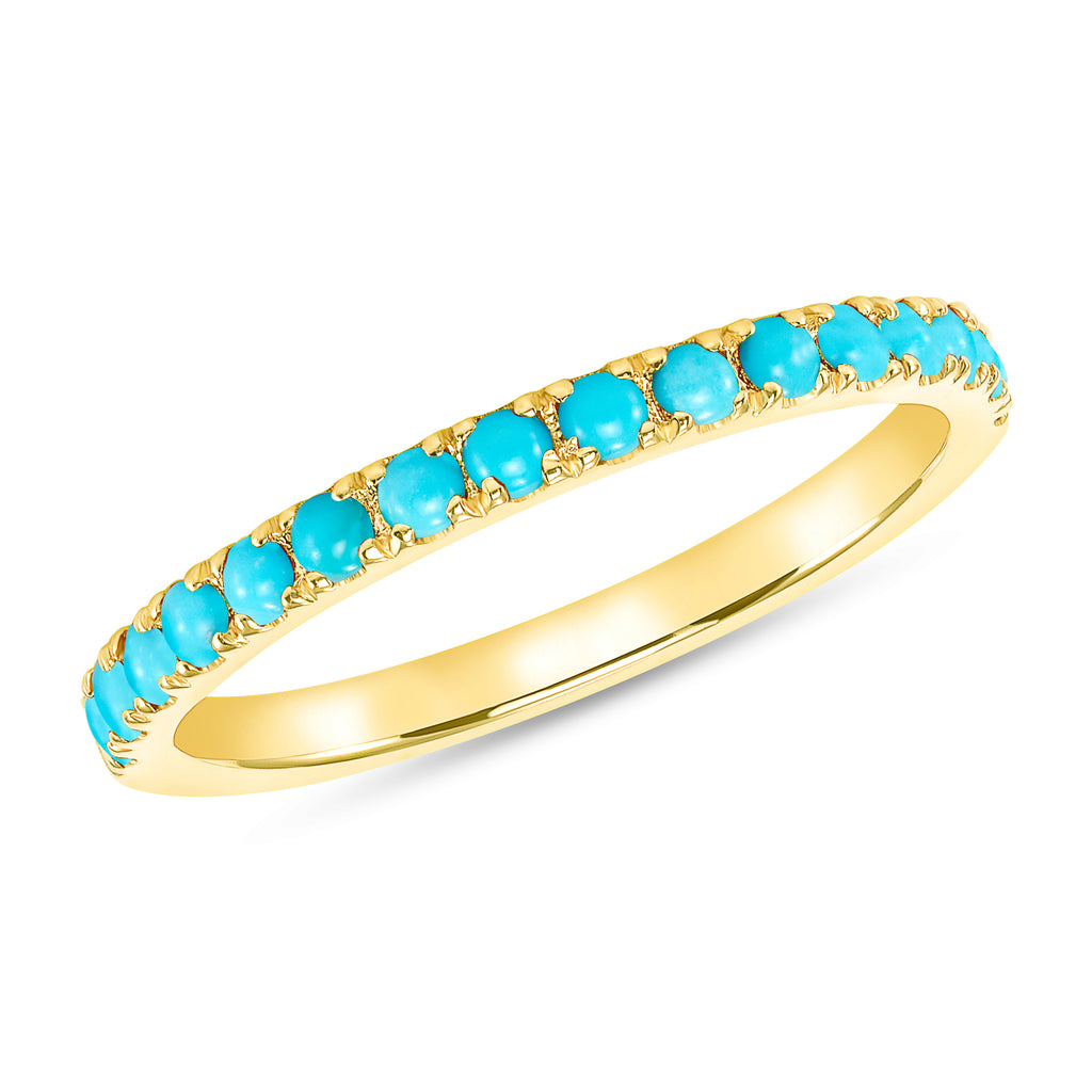 Emma - 14k Yellow Gold & Turquoise Band