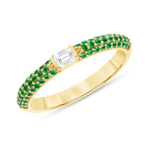 Madison - Emerald Cut Center Stone with Emerald Pave Accents