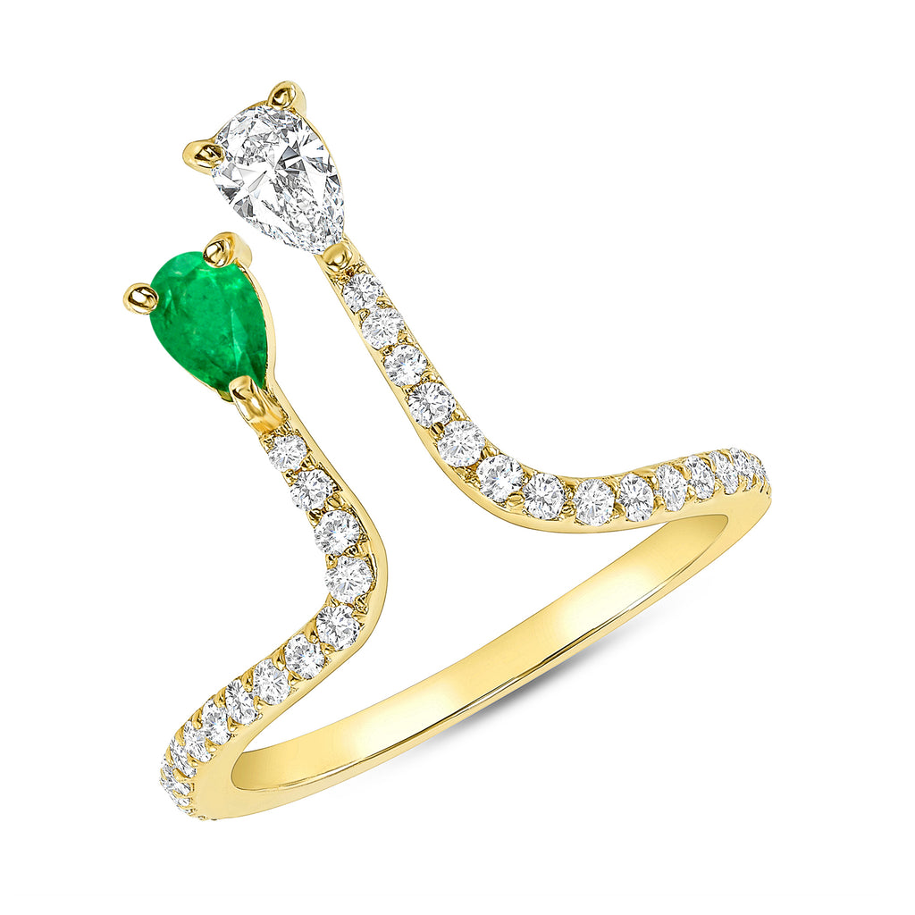 Emalee - Dripping with Diamonds + One Emerald 14k Ring