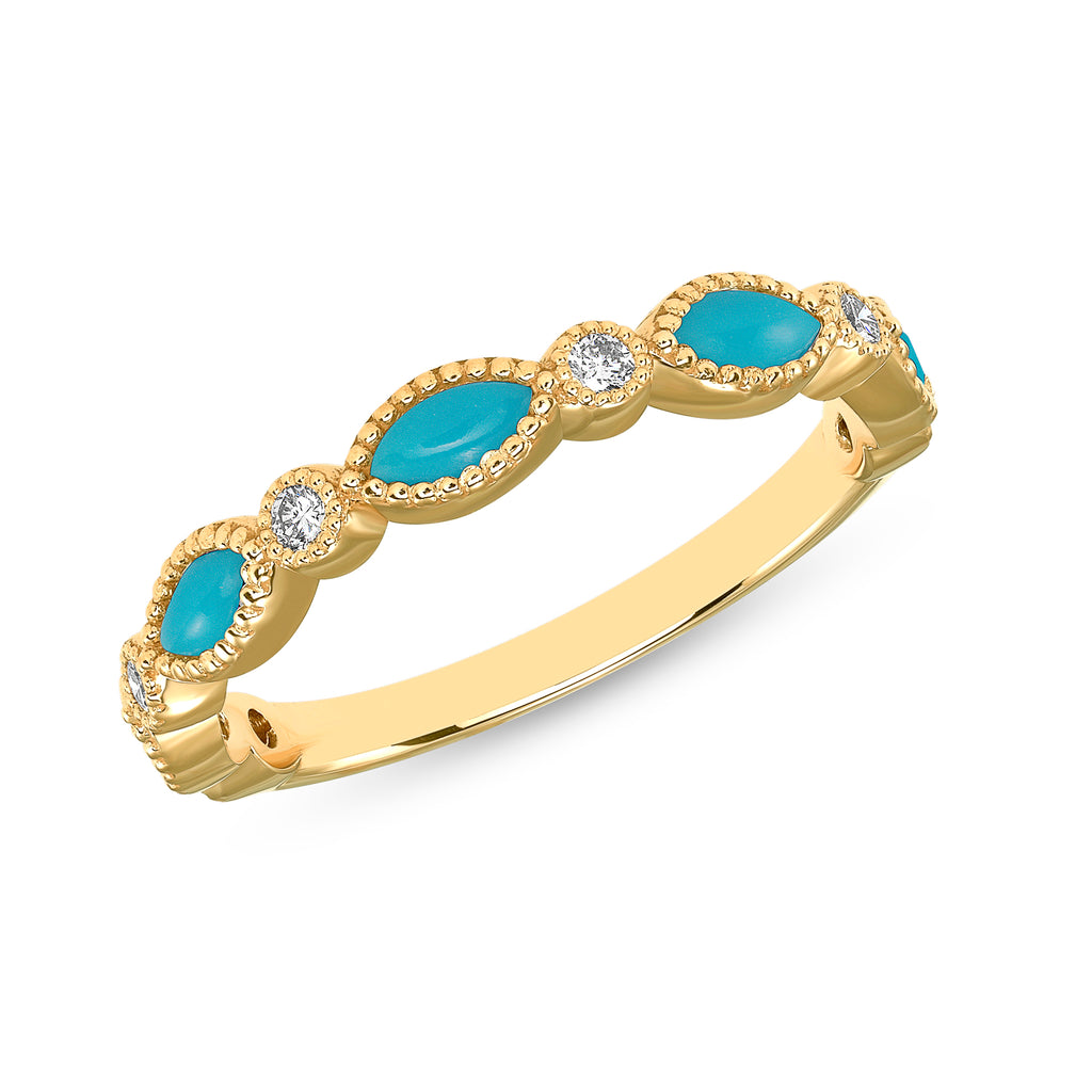 Mellie - 14k Yellow Gold Turquoise Marquise and Diamond Band