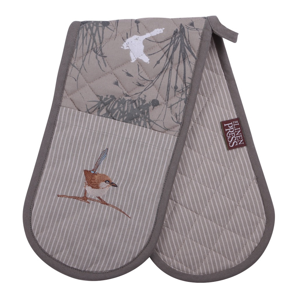 Linen Press Double Mitt Blue Wren Grassland (Organic Cotton) Teros