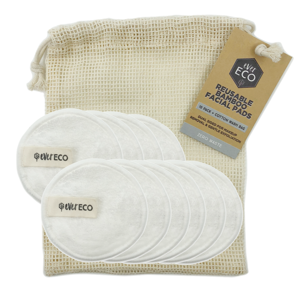 Ever Eco Reusable Bamboo Facial Pads with Washing Bag (10 Pack) Teros