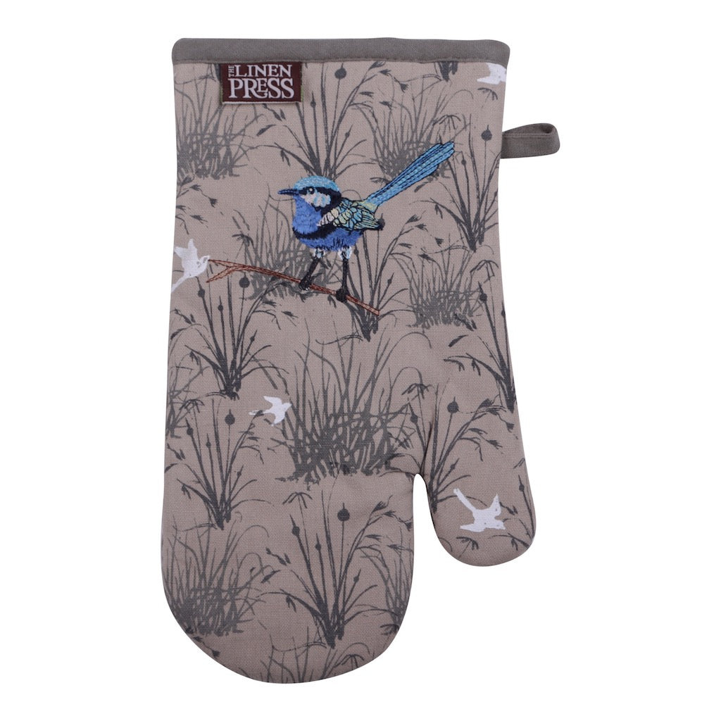 Linen Press Single Mitt Blue Wren Grassland (Organic Cotton) Teros